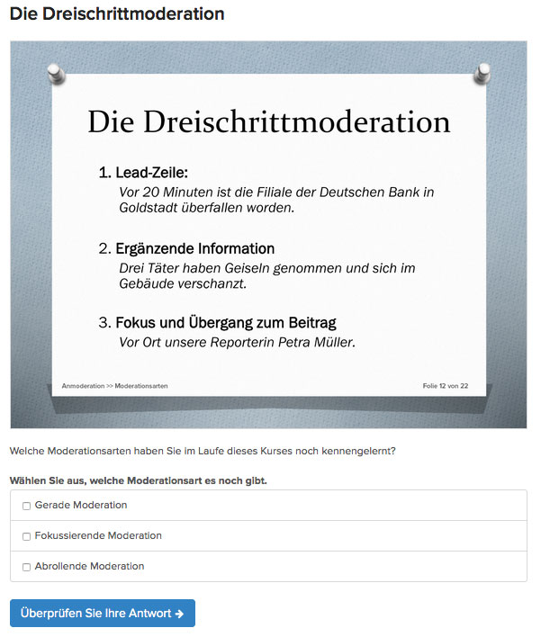 PowerPoint-Folie mit Quiz